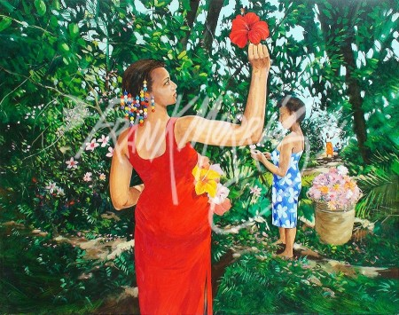 (KY371) Gathering Flowers 91.5 x 110 cm $475