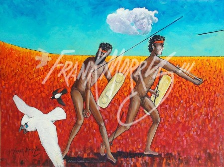 (Y721) Bahmai Hurls His Spear at Their Enemies 90 x 122 cm $400