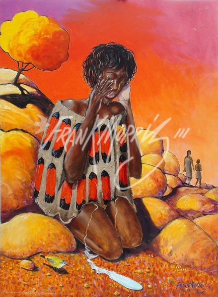 (Y718) 122 x 90 cm Teardrops of Sadness Fall on the Dry, Stoney Ground $400