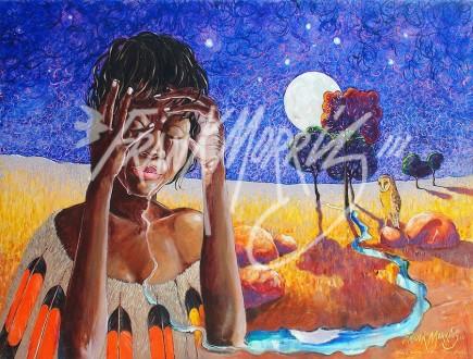 (Y705) Krubi's Tears Begin to Form a Stream of Sorrow 90 x 122 cm $400