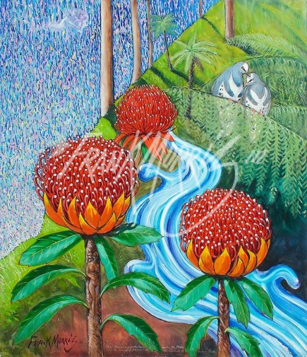 (Y719) Krubi Became a Coverted Name Among the Tribe and the Waratah Flower Symbolizes Undying Love 102 x 90 cm $400