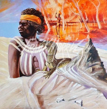 (KY354)A Woman of Mungo Lake85x82cm$300