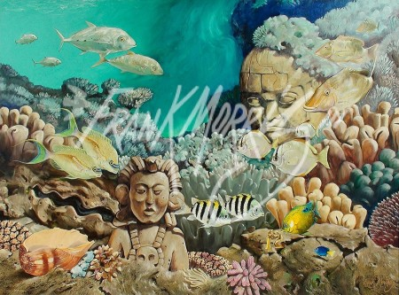 (Y580) Golden Serpent Reef 90 x 120 cm $800