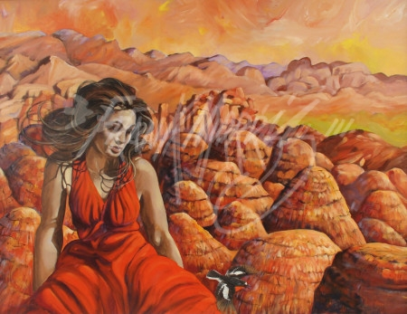 (KY366) Red Earth, Red Sky, Red Dress 75 x 98 cm