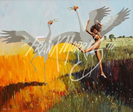 (KY380) Brolga's Dance 51 x 60 cm $300