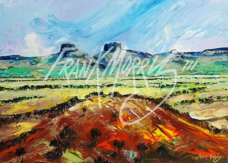(YPK153) Looking Back at Beale Range 79.5 x 110 cm $300