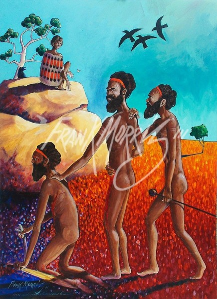 (Y738) 110 x 80 cm Krubi Sees the Warriors Return Without Bahmai $350