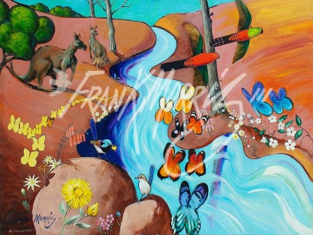 (Y708) 90 x 122 cm The Stream of Krubi's Tears Flows, Singing a Song of Love and Longing $450