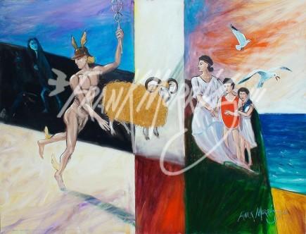 (Y604) Mercury Gives Nephele a Ram 91 x 121 cm $500