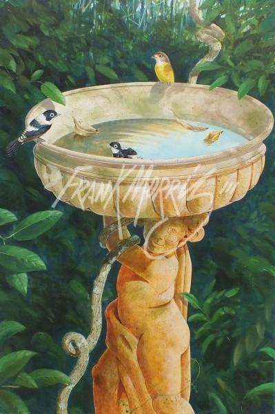 (Y322)  Forgotten Birdbath  91x61 cm $400